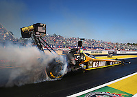 Mar 14, 2014; Gainesville, FL, USA; NHRA top fuel dragster driver Tony Schumacher during qualifying for the Gatornationals at Gainesville Raceway Mandatory Credit: Mark J. Rebilas-USA TODAY Sports
