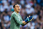Goalkeeper Keylor Navas of Real Madrid reacts during the UEFA Champions League Semi-final 2nd leg match between Real Madrid and Bayern Munich at the Estadio Santiago Bernabeu on May 01 2018 in Madrid, Spain. Photo by Diego Souto / Power Sport Images