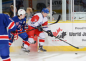 Dawson Creek, BC - Dec 9 2019: Game 5 - Czech Republic vs. USA at the 2019 World Junior A Championship at the ENCANA Event Centre in Dawson Creek, British Columbia, Canada. (Photo by Matthew Murnaghan/Hockey Canada)