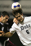 05 October 2007: Duke's Paul Dudley (6) wins a header against Boston College's Idan Shefler (4). Boston College defeated Duke University at Koskinen Stadium in Durham, North Carolina in an NCAA Men's soccer game.