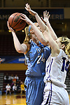 GRAND RAPIDS, MI - MARCH 18: Michela North (24) of Tufts University is guarded by Emma McCarthy (14) of Amherst College during the Division III Women's Basketball Championship held at Van Noord Arena on March 18, 2017 in Grand Rapids, Michigan. Amherst defeated 52-29 for the national title. (Photo by Brady Kenniston/NCAA Photos via Getty Images)