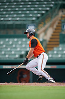 GCL Orioles Trevor Kehe (16) bats during a Gulf Coast League game against the GCL Braves on August 5, 2019 at Ed Smith Stadium in Sarasota, Florida.  GCL Orioles defeated the GCL Braves 4-3 in the first game of a doubleheader.  (Mike Janes/Four Seam Images)