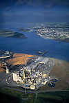Aerial over pulp mill, Humboldt Bay, Eureka, Humboldt County, CALIFORNIA