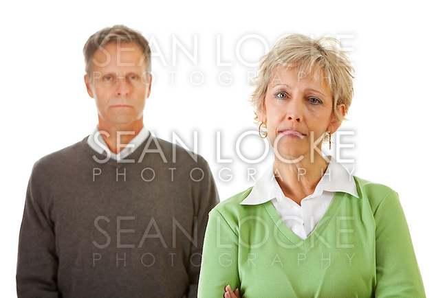 Series with a mature couple, mid 50's, in various themes, including healthy eating, medical and fun.  Isolated on white and an interior room.