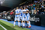CD Leganes's players celebrate goal during La Liga match between CD Leganes and Levante UD at Butarque Stadium in Leganes, Spain. March 04, 2019. (ALTERPHOTOS/A. Perez Meca)