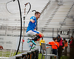 Andy Halliday leaps the boards to celebrate
