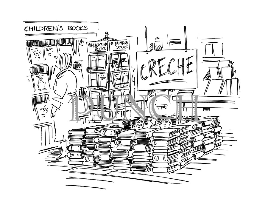 (children left waiting in a creche made from books at a bookstore)