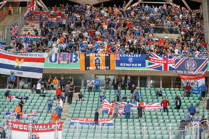 22.08.2019 Legia Warsaw v Rangers: Rangers fans kept in for an hour at full time
