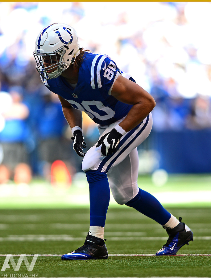 Sep 28, 2014; Indianapolis, IN, USA; Indianapolis Colts tight end Coby Fleener (80) against the Tennessee Titans at Lucas Oil Stadium. Mandatory Credit: Andrew Weber-USA TODAY Sports