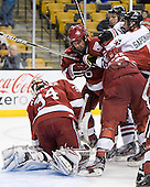 Steve Michalek (Harvard - 34), Ryan Grimshaw (Harvard - 6), Ludwig Karlsson (Northeastern - 45), Vinny Saponari (Northeastern - 74), David Valek (Harvard - 22) - The Harvard University Crimson defeated the Northeastern University Huskies 3-2 in the 2012 Beanpot consolation game on Monday, February 13, 2012, at TD Garden in Boston, Massachusetts.