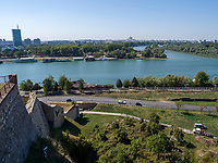 Blick von Festung auf Donau, Belgrad, Serbien, Europa<br /> Danube seen from the fortress,  Belgrade, Serbia, Europe