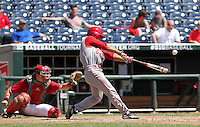 Laren Eustace connects with the ball for a two-run home run in the eighth inning. Indiana's 6-2 win eliminated Nebraska from the Big Ten Tournament at TD Ameritrade Park in Omaha, Neb. on May 26, 2016. (Photo by Michelle Bishop)