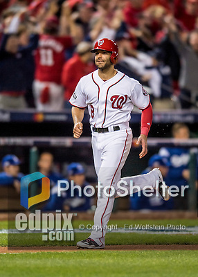 13 October 2016: Washington Nationals infielder Danny Espinosa comes home to score on a Chris Heisey, two-run homer, in the 7th inning of the NLDS Game 5 against the Los Angeles Dodgers at Nationals Park in Washington, DC. The Dodgers edged out the Nationals 4-3, to take Game 5, and the Series, 3 games to 2, moving on to the National League Championship against the Chicago Cubs. Mandatory Credit: Ed Wolfstein Photo *** RAW (NEF) Image File Available ***