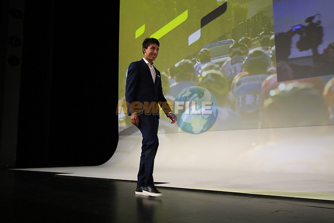 Defending Champion Egan Bernal (COL) introduced on stage at the Tour de France 2020 route presentation held in the Palais des Congrès de Paris (Porte Maillot), Paris, France. 15th October 2019.<br /> Picture: Eoin Clarke | Cyclefile<br /> <br /> All photos usage must carry mandatory copyright credit (© Cyclefile | Eoin Clarke)