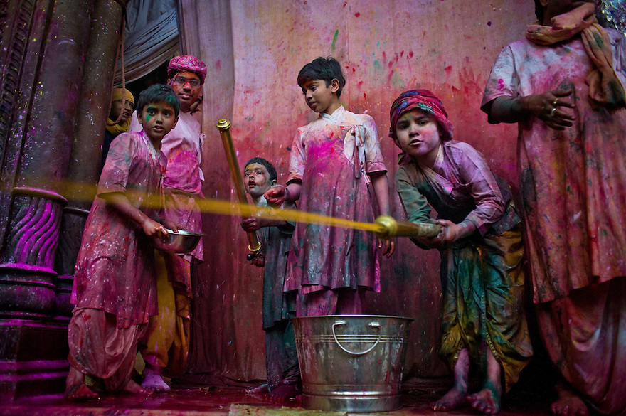 Indian Hindu devotees take part in festivities at the Bankey Bihari temple as part of the Holi festival that is culminating on March the 1st. Saturday 27th 2010, Vrindavan,India...Photograph by: Niklas Halle'n/CHI-photo/Rex features