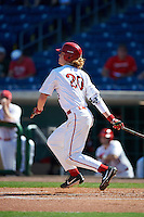 Ball State Cardinals CJ Alexander (20) at bat during a game against the Louisville Cardinals on February 19, 2017 at Spectrum Field in Clearwater, Florida.  Louisville defeated Ball State 10-4.  (Mike Janes/Four Seam Images)