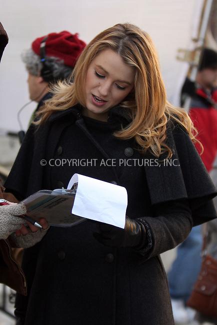 WWW.ACEPIXS.COM . . . . .  ....December 18 2008, New York City....Actress Blake Lively on the set of the TV show 'Gossip Girl' on December 18 2008 in New York City....Please byline: AJ Sokalner - ACEPIXS.COM..... *** ***..Ace Pictures, Inc:  ..tel: (212) 243 8787..e-mail: info@acepixs.com..web: http://www.acepixs.com