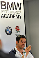 Mortimer, England,  England rugby backs coach Andy Farrell speaks at a press conference during the  Launch of BMW Group UK's new partnership with the RFU including investment in the RFU National Academy Programme and front of shirt sponsorship for the England Under-20, Under-18 and Under-16 squads at  BMW Group Academy, Mortimer, England, September 25.