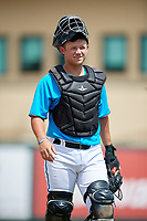 Miami Marlins catcher Dustin Skelton (20) during an Instructional League game against the Washington Nationals on September 25, 2019 at Roger Dean Chevrolet Stadium in Jupiter, Florida.  (Mike Janes/Four Seam Images)