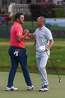 Jon Rahm (ESP) shakes hands with Alex Noren (SWE) on 18 following round 4 of the WGC FedEx St. Jude Invitational, TPC Southwind, Memphis, Tennessee, USA. 7/28/2019.<br /> Picture Ken Murray / Golffile.ie<br /> <br /> All photo usage must carry mandatory copyright credit (© Golffile | Ken Murray)