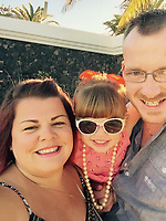 Pictured: Darcy-May Elm (C) with mum Dani (L) and dad Daniel (R)<br /> Re: Inquest to be held in Milford Haven Coroner's Court, into the death of four-year-old Darcy-May Elm who was killed in a two-car crash on the A40, west of Carmarthen, Wales on the 27th of October 2018.<br /> Dyfed-Powys Police had to shut the road for seven hours to investigate the crash, which involved a blue Nissan Micra and a black Skoda Fabia.<br /> The family from Swanage, Dorset were on their way for a family break.<br /> Daniel and Dani, Darcy-May's parents had to stay in hospital.