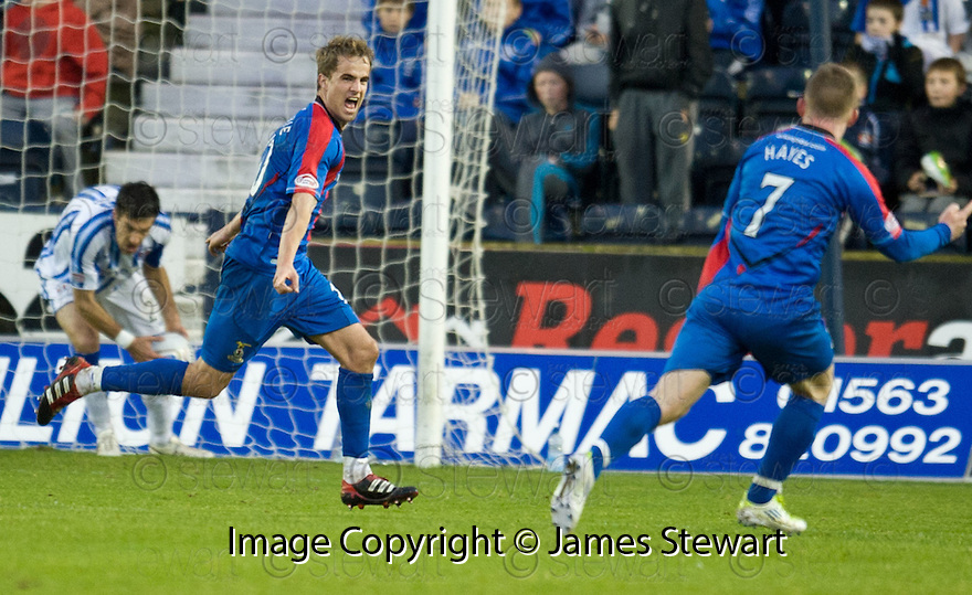 CALEY'S ANDREW SHINNIE CELEBRATES AFTER HE SCORES INVERNESS' THIRD GOAL.