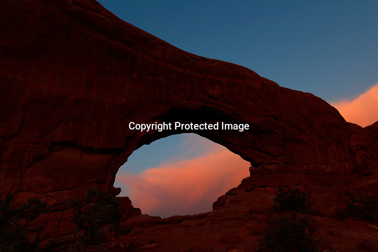 Dawn at North Window Arch in Arches National Park, Utah