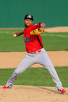 Peoria Chiefs pitcher Estarlin Arias (41) delivers a pitch during a Midwest League game against the Beloit Snappers on April 15, 2017 at Pohlman Field in Beloit, Wisconsin.  Beloit defeated Peoria 12-0. (Brad Krause/Four Seam Images)