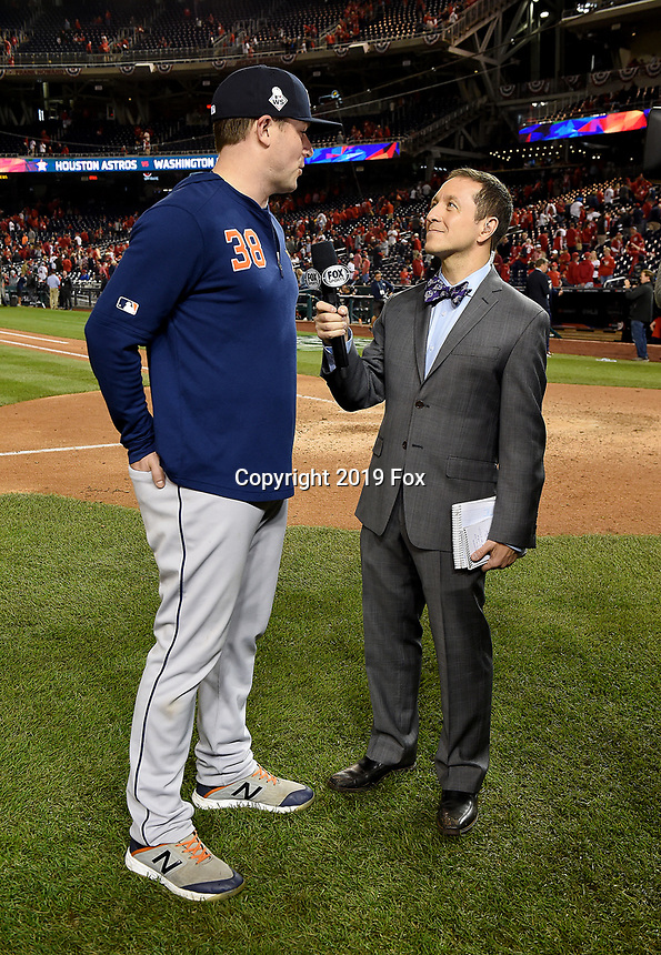 WASHINGTON DC - OCTOBER 27: Ken Rosenthal talks to Astros pitcher Joe Smith following World Series Game 5: Houston Astros at Washington Nationals on Fox Sports at Nationals Park on October 27, 2019 in Washington, DC. (Photo by Frank Micelotta/Fox Sports/PictureGroup)