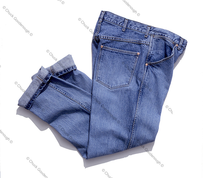 Stock Photo showing Bluejeans on an Isolated White Backdrop