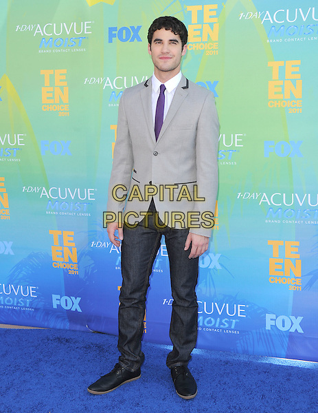 Darren Criss.2011 Teen Choice Awards - Arrivals held at Gibson Amphitheatre, Universal City, California, USA..August 7th, 2011.full length suit jacket purple tie white grey gray black trousers . .CAP/RKE/DVS.©DVS/RockinExposures/Capital Pictures.