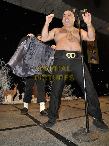 LONDON, ENGLAND - JANUARY 19: Stavros Flatley ( Lagi &amp; Demi Demetriou ) at the Mad Hatter's Tea Party organised by the London Taxi Drivers' Fund to help underprivileged children, Grosvenor House Hotel, Park Lane, on Sunday January 19, 2014 in London, England, UK. <br /> CAP/CAN<br /> &copy;Can Nguyen/Capital Pictures