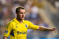Chris Birchall (8) of the Columbus Crew. The Columbus Crew defeated the Philadelphia Union 2-1 during a Major League Soccer (MLS) match at PPL Park in Chester, PA, on August 29, 2012.