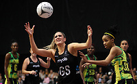 24.02.2018 Silver Ferns Te Paea Selby-Rickit in action during the Silver Ferns v Jamaica Taini Jamison Trophy netball match at the North Shore Events Centre in Auckland. Mandatory Photo Credit ©Michael Bradley.