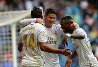 MADRID-ESPAÑA, 14-09-2019: Cassemiro, James Rodríguez y Vinicius Jr de Real Madrid, celebran el tercer gol anotado al Levante durante partido de la Liga de España, Real Madrid y Levante en el estadio Santiago Bernabeu de la ciudad de Madrid, España. / Cassemiro, James Rodríguez and Vinicius Jr of Real Madrid, celebrate the third scored goal to Levante during a match between Real Madrid and Levante for the Liga of Spain in the Santiago Bernabeu stadium in Madrid, Spain Photo: ChakanaNews / Patricio Realpe / VizzorImage.