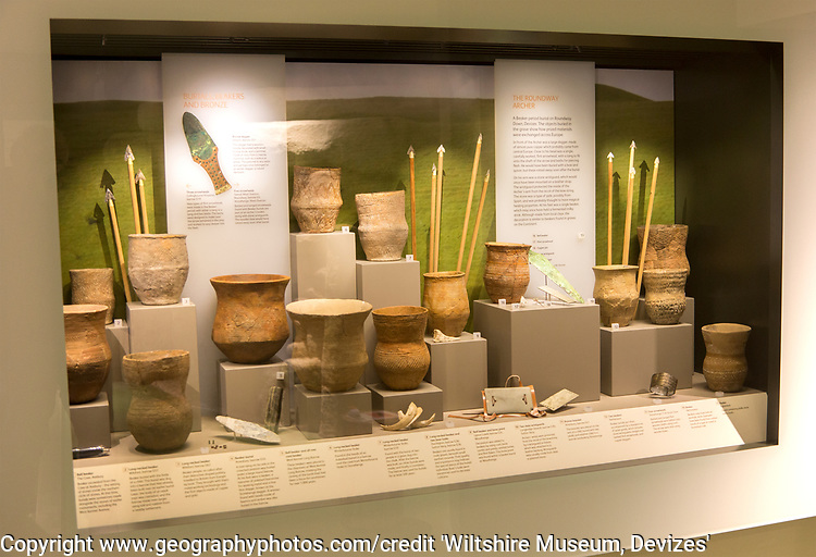Display of grave goods from Bronze Age beaker burials in Wiltshire, including contents of the Roundway Archer burial. With permission of Wiltshire Museum, Devizes, England, UK