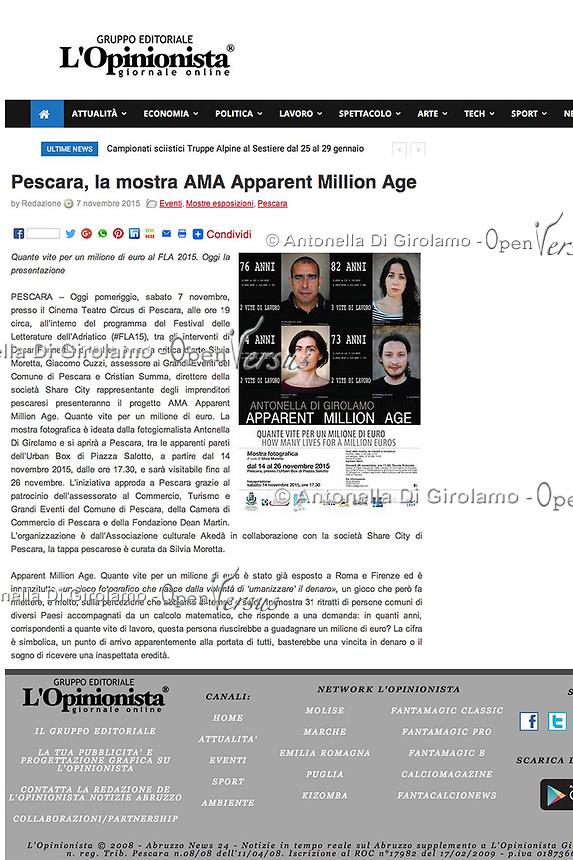 AMA-Apparent Million Age.<br /> Mostra fotografica sulla percezione del valore dei numeri, usando calcoli matematici umanizzati.<br /> http://www.lopinionista.it/notizie/pescara-la-mostra-ama-apparent-million-age-342000.html
