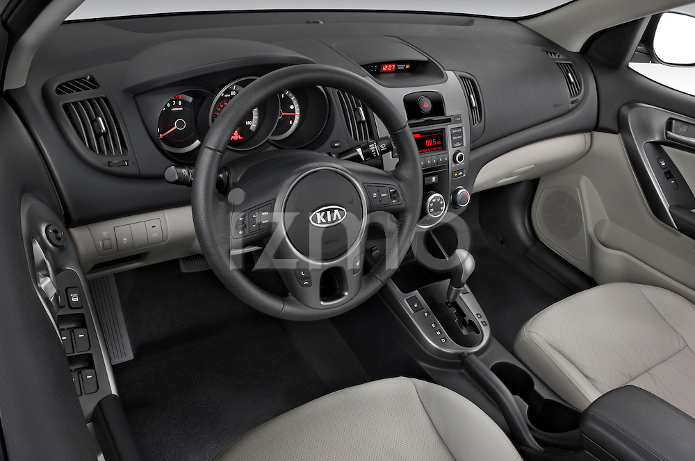 High angle dashboard view of a 2010 Kia Forte EX