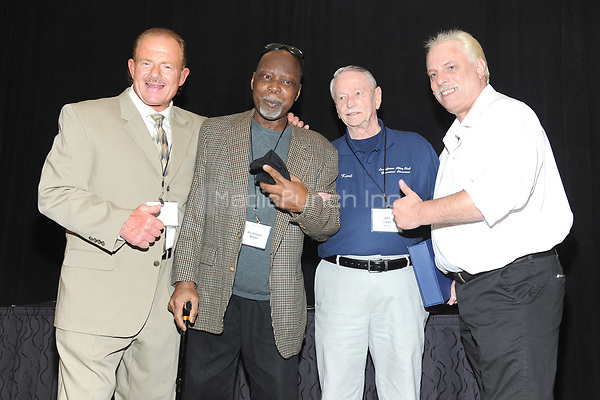 LAS VEGAS, NV - MAY 02: B Brian Blair, Brickhouse Brown, Karl Laurer and Morgan Dollars at the 2018 Cauliflower Alley Club Awards Banquet And Dinner at the Gold Coast Hotel & Casino in Las Vegas, Nevada on May 2, 2018. Credit: George Napolitano/MediaPunch