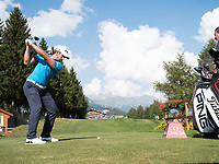Matthieu Pavon (FRA) in action on the 18th hole during second round at the Omega European Masters, Golf Club Crans-sur-Sierre, Crans-Montana, Valais, Switzerland. 30/08/19.<br /> Picture Stefano DiMaria / Golffile.ie<br /> <br /> All photo usage must carry mandatory copyright credit (© Golffile | Stefano DiMaria)