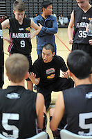 North Harbour B coach William Tang makes a point during the National Under-15 Basketball Championship at the ASB Sports Centre, Kilbirnie, Wellington, New Zealand on Thursday, 25 July 2013. Photo: Dave Lintott / lintottphoto.co.nz