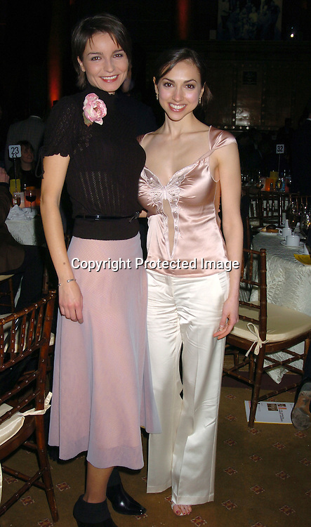 """Olga Sosnovska and Eden Riegel who accepted for """"All My Children""""..at the Hetrick-Martin Institute's 2003 Emery Awards on ..December 4, 2003 at Capitale in New York City. ..Photo by Robin Platzer, Twin Images."""