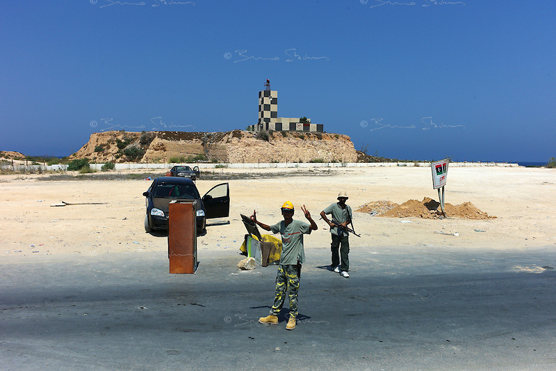 near Tripoli, Libya, August 27, 2011.A check-point on the coastal road east of Tajoura..