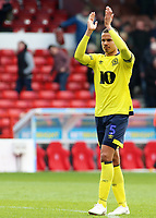 Blackburn Rovers' Jack Rodwell applauds the fans at the final whistle <br /> <br /> Photographer David Shipman/CameraSport<br /> <br /> The EFL Sky Bet Championship - Nottingham Forest v Blackburn Rovers - Saturday 13th April 2019 - The City Ground - Nottingham<br /> <br /> World Copyright © 2019 CameraSport. All rights reserved. 43 Linden Ave. Countesthorpe. Leicester. England. LE8 5PG - Tel: +44 (0) 116 277 4147 - admin@camerasport.com - www.camerasport.com
