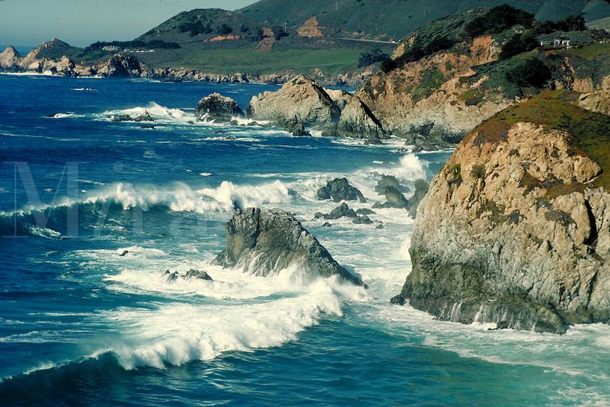 Big Sur coastline view showing rocks and Pacific Ocean. California, Big Sur.