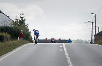 early breakaway attempt by Rémi Cavagna (FRA/Quickstep Floors) with him checking his lead on top of a small climb<br /> <br /> Binche-Chimay-Binche 2017 (BEL) 197km<br /> 'Mémorial Frank Vandenbroucke'
