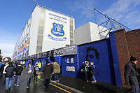 Pictured: Exterior view of Goodison Park. Saturday 22 March 2014<br /> Re: Barclay's Premier League, Everton v Swansea City FC at Goodison Park, Liverpool, UK.
