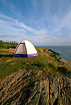 Tent on a bluff, Hermit Island, Phippsburg, Maine, USA