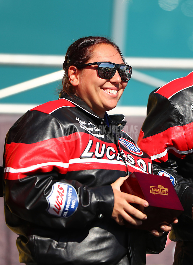 Mar 19, 2017; Gainesville , FL, USA; NHRA super gas driver Mia Tedesco receives her championship jacket and ring during the Gatornationals at Gainesville Raceway. Mandatory Credit: Mark J. Rebilas-USA TODAY Sports