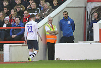 Preston North End's Brandon Barker leaves the pitch through injury<br /> <br /> Photographer Mick Walker/CameraSport<br /> <br /> The EFL Sky Bet Championship - Nottingham Forest v Preston North End - Saturday 8th December 2018 - The City Ground - Nottingham<br /> <br /> World Copyright © 2018 CameraSport. All rights reserved. 43 Linden Ave. Countesthorpe. Leicester. England. LE8 5PG - Tel: +44 (0) 116 277 4147 - admin@camerasport.com - www.camerasport.com